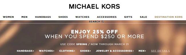 Michael Kors消费满$250以上享受7.5折