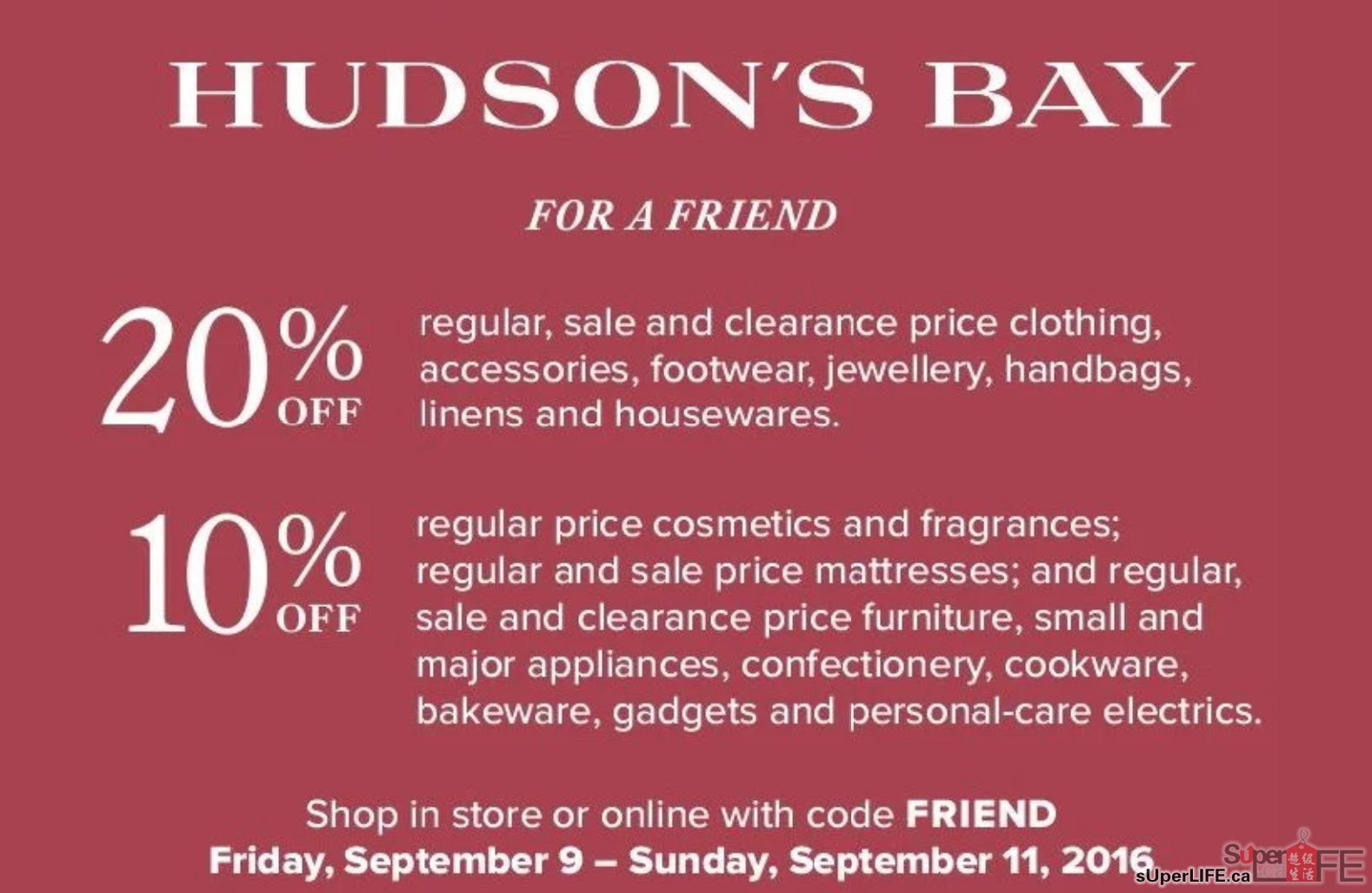 Extra $25 Off$+ with Your Hudson's Bay Mastercard or Credit Card Shop online at bestdfil3sl.ga and get best discounts. Enter the code at checkout and get Extra $25 Off$+ with Your Hudson's Bay Mastercard or Credit Card. Code valid until: Saturday, 14 Aug