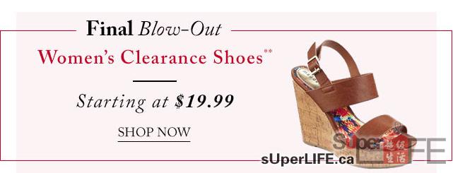The Bay女士鞋清仓$19.99起